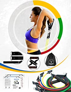 Resistance Band Set - Ideal Home Workout Equipment. Comes with Different Difficulty Level Bands, Handles and Door Anchor Attachment. Workout at Any Time with Exercise  Bands for Working Out