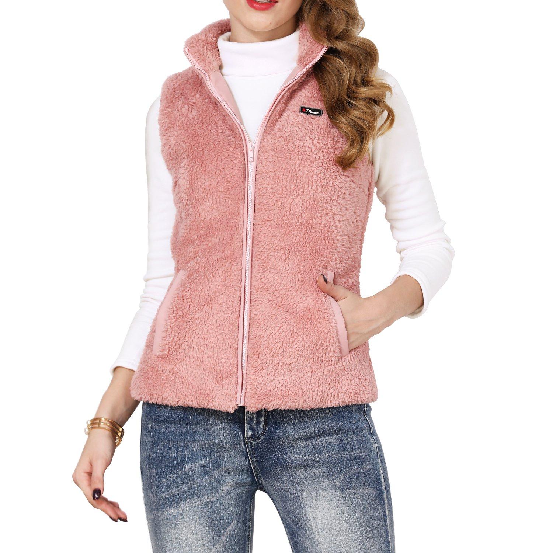 Shy Velvet Women's Slim Activewear Fall and Winter Fleece Vest with Pockets