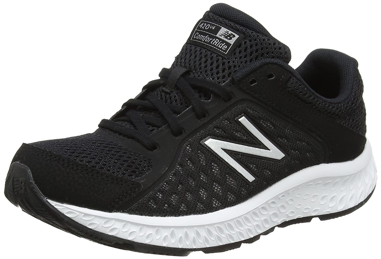 New Balance Women's 420v4 Cushioning Running Shoe B06XS3PLSW 7 B(M) US|Black/Silver