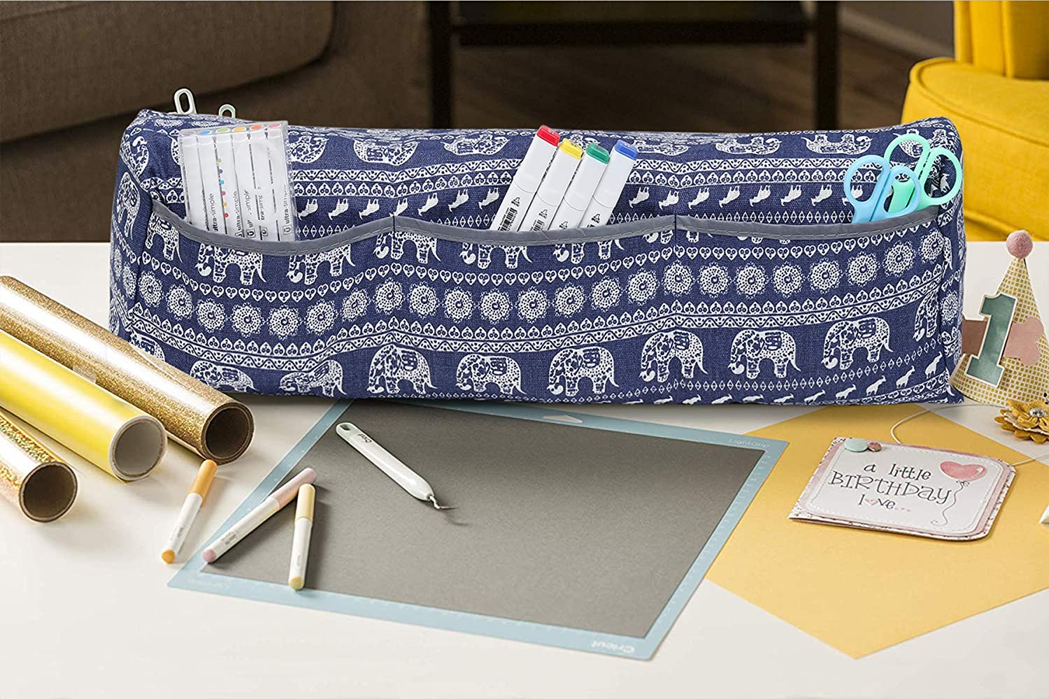 Double Sides Linens/& Oxford Fabric Cover Blue Elephant Mardili Dust Cover Compatible with Cricut Explore Air Explore Air 2 and Maker