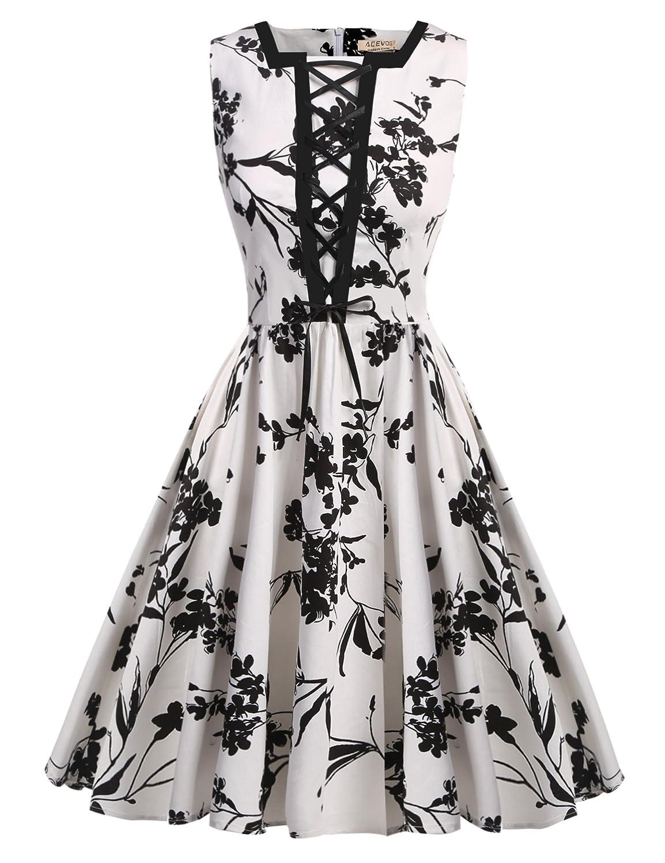 ACEVOG Women's Vintage 1950s Floral Print Lace Up Picnic Party Swing Dress