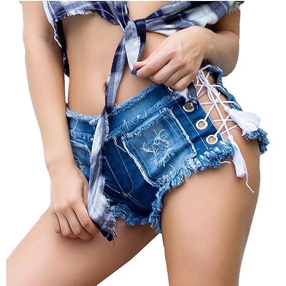 Damen Blue Jeans Hotpants schwarze weiß Kunstleder Akzente