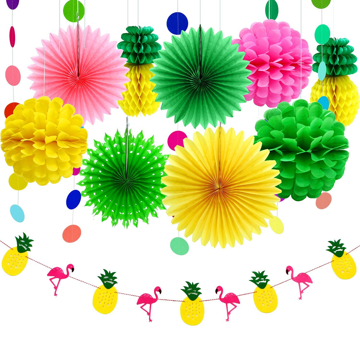 Aneco 11 Pieces Summer Party Decoration Kit Tissue Pineapples Paper Pom Poms Flowers Tissue Paper Fan Polka Dot Paper Garland Flamingo Pineapple Banners for Hawaiian Summer Luau Party