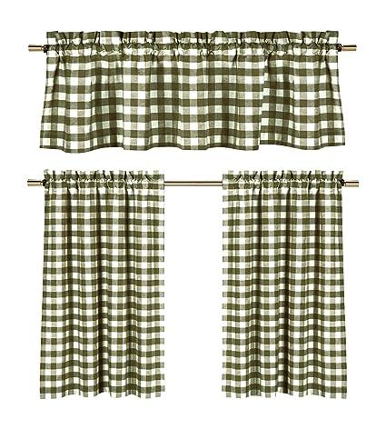 Sage Green White Kitchen Curtains: Gingham Checkered Plaid Design