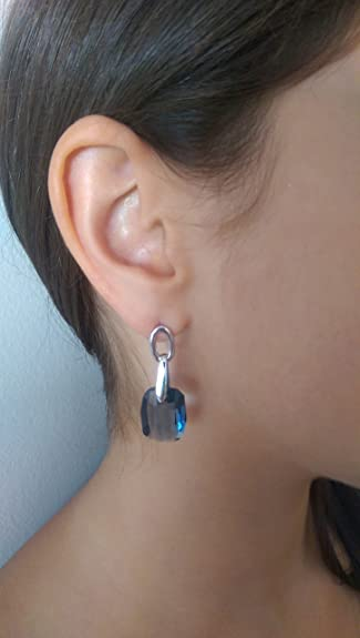 66059a5c8 Amazon.com: Swarovski Crystals Blue Denim Pendant Silver