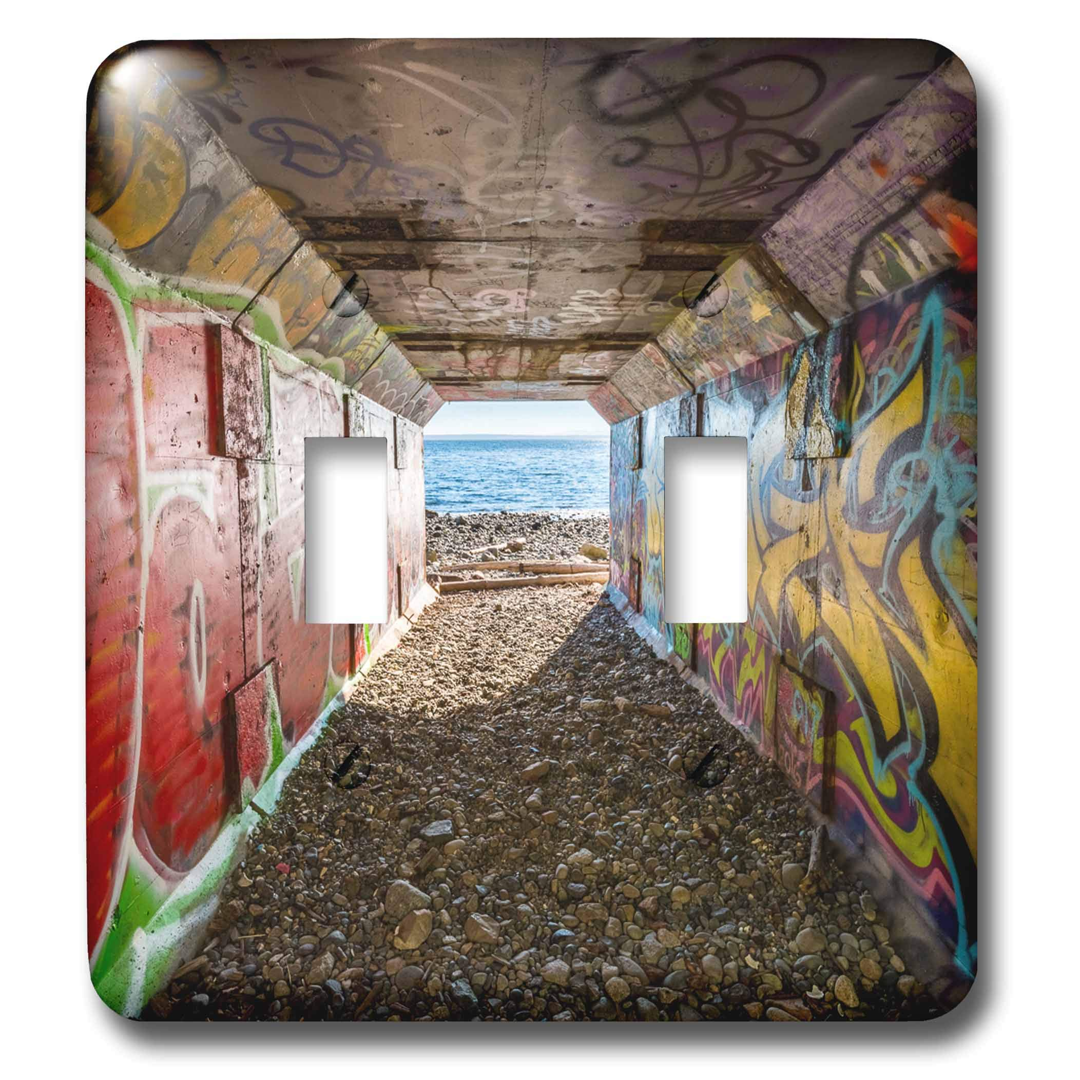 3dRose Elysium Photography - Landscape - Graffiti on rail tunnel, 1001 Steps, Surrey, British Columbia - Light Switch Covers - double toggle switch (lsp_289564_2)