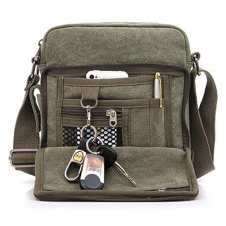9cccdf7633f7a Outreo Borsa Tracolla Uomo Borse da Spalla di Tela Canvas Messenger Bag Vintage  Sacchetto di Tablet. Scorri sopra l immagine per ingrandirla