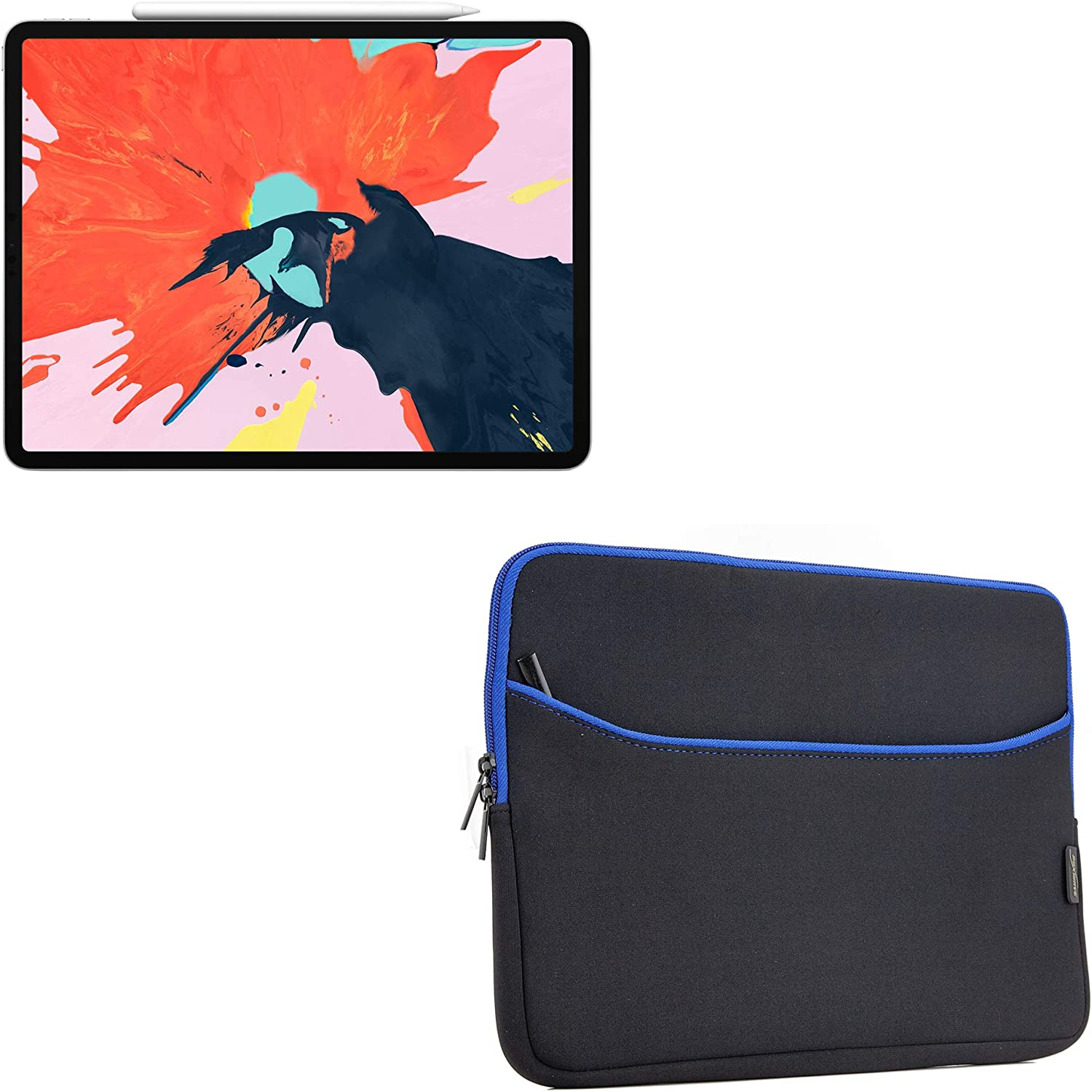 "Apple iPad Pro 12.9"" (2018) Case, BoxWave [SoftSuit with Pocket] Soft Pouch Cover w/Sleeve for Apple iPad Pro 12.9"" (2018) - Jet Black with Blue Trim"