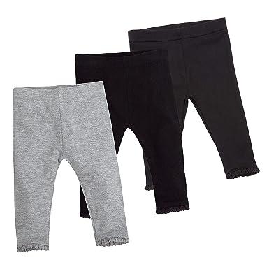 9b9ecb40c2eb0f Babytown Baby Girls Plain Leggings 3-Pack with Lace Trim Black & Grey 3-