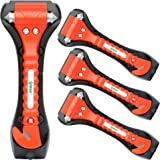 IPOW 4 PCS Car Safety Antiskid Hammer Seatbelt Cutter Emergency Class/Window Punch Breaker Auto Rescue Disaster Escape Life-Saving Hammer Tool,Big