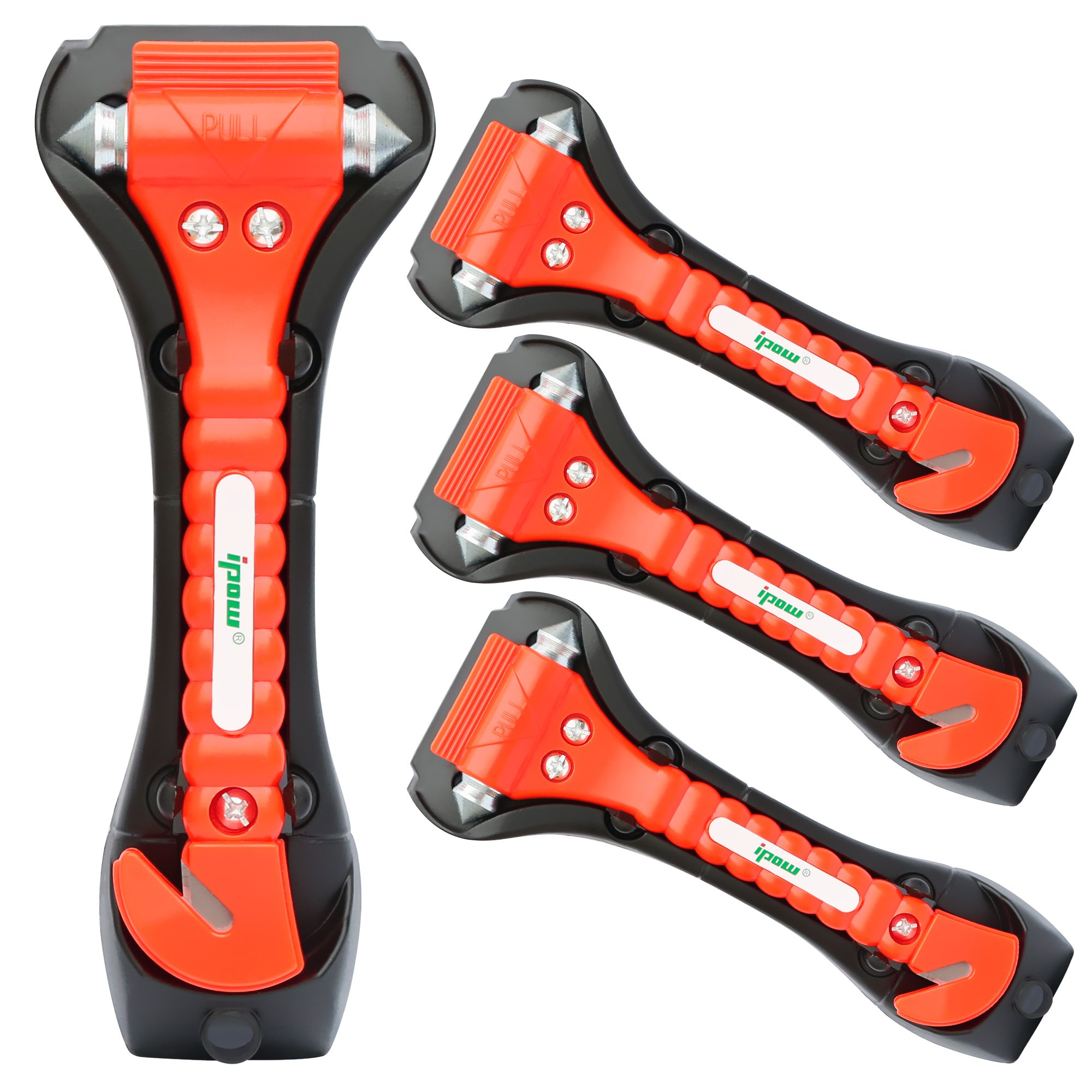 IPOW 4 PCS Car Safety Antiskid Hammer Seatbelt Cutter Emergency Class/Window Punch Breaker Auto Rescue Disaster Escape Life-Saving Hammer Tool,Big