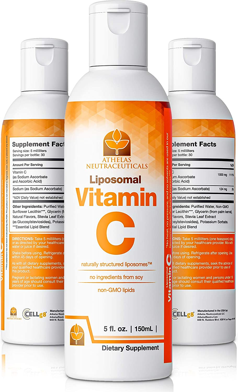 Liposomal Vitamin C Liquid Supplement - 1000mg Premium High Absorption Vitamin C - Easy to Take - No Stomach Upset - Premium Liquid Vitamin C 1000mg - Made in USA - Mixes Easily with Liquid