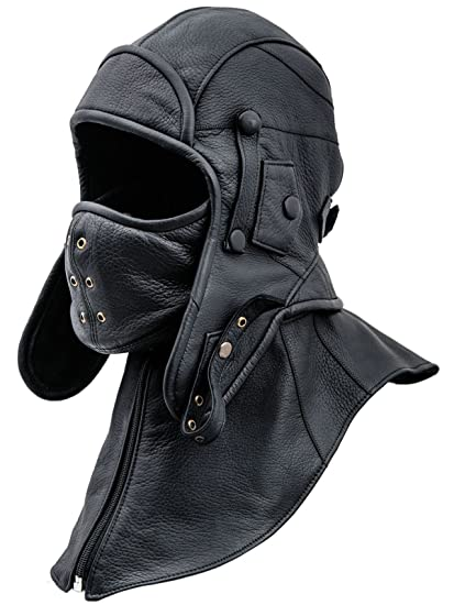 060840ff613ce6 Sterkowski Siberia Genuine Leather Aviator Cap with Mask and Collar at  Amazon Men's Clothing store: