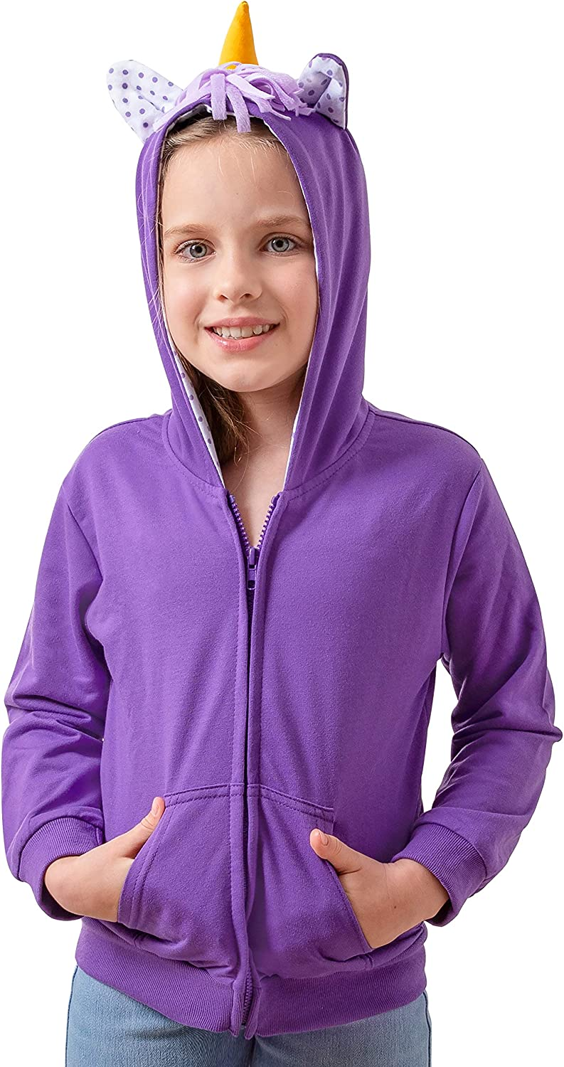 Girls Unicorn Full-Zip Hoodie Long Sleeve Fashion Sweatshirts with Hood
