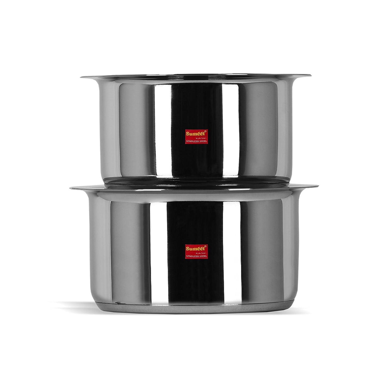 Sumeet 2個ステンレススチール誘導下部(カプセル化された下)誘導&ガスストーブFriendlyコンテナセット/ Tope /調理器具セットwith Lids 1 & 1.25 Lit ホワイト IBTP10-11-2PC B0791HGPDP 1 & 1.25 Lit  1 & 1.25 Lit