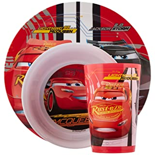 Zak Designs CRSG-0391 Cars 3 Plate-Bowl-Tumbler 3 Piece Windowbox Set
