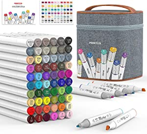 60 Colors Alcohol Art Markers, Dual Tips Twin Artist Alcohol Based Sketch Markers with Case- Ideal for Adults Kids Drawing Coloring Gifts