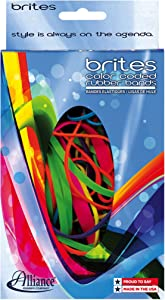 Alliance Rubber 07706 Non-Latex Brites File Bands, Colored Elastic Bands, 1.5 oz Pic Pac Dispenser (Assorted Bright Colors and Sizes)