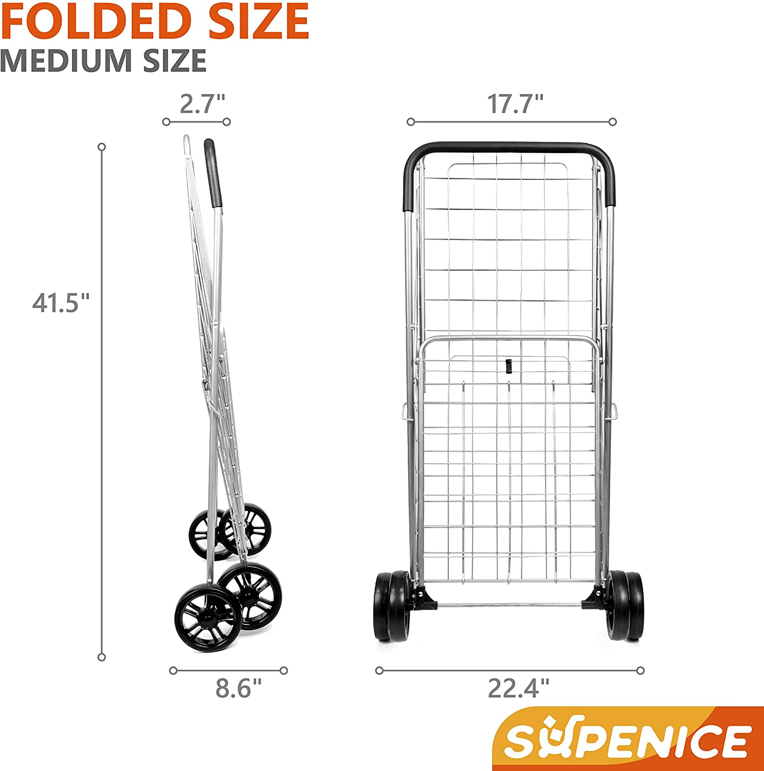 supenice Grocery Utility Shopping Cart - Deluxe Utility Cart with Oversized Basket and Tool Free Installation Light Weight Folding Cart with Wide Cushion Handle Bar for Laundry Book Luggage Travel: Home & Kitchen