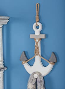 Deco 79 98864 Wood and Rope Anchor Wall Decor, White/Gray/Darkgray/Brown