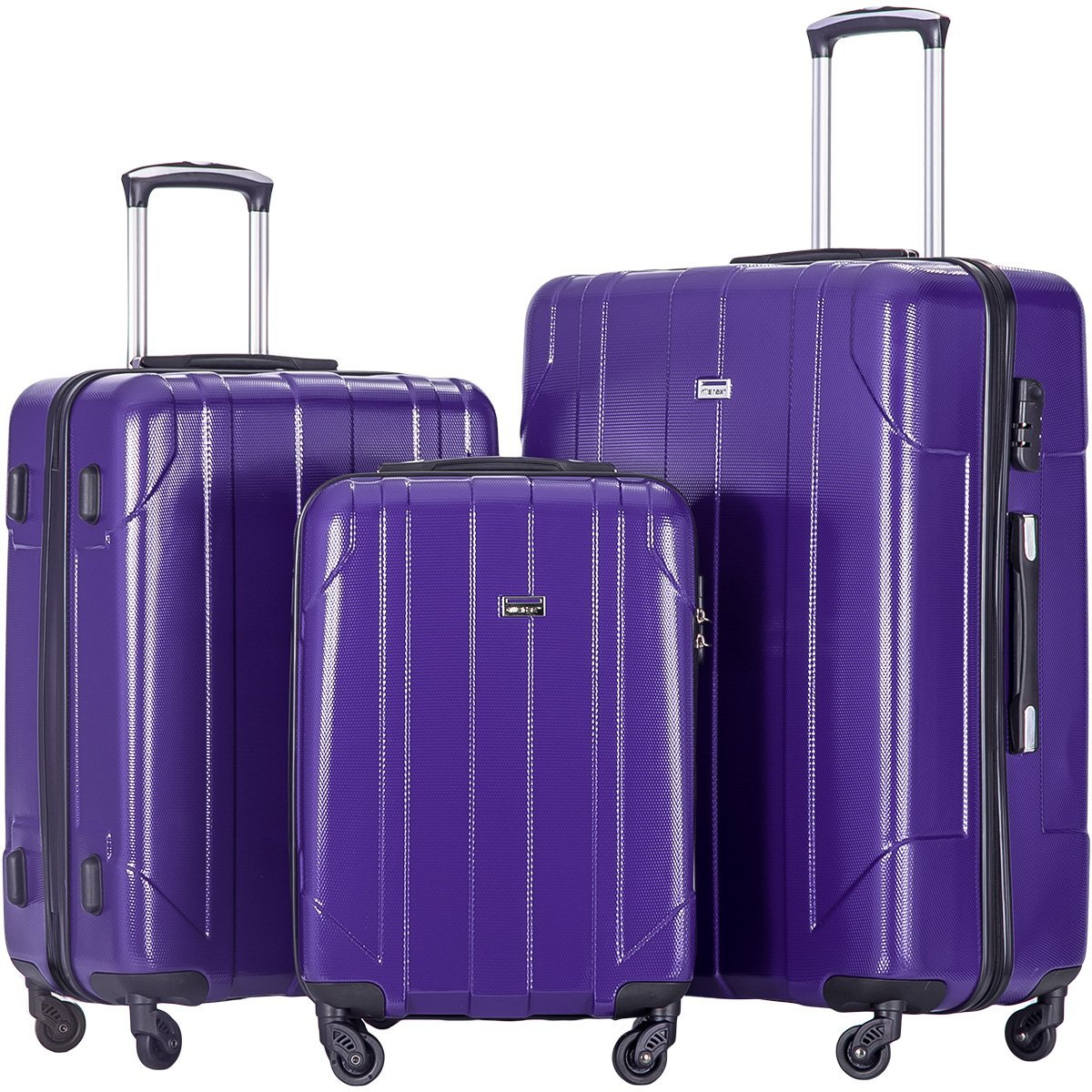 Merax 3 Piece P.E.T Luggage Set Eco-friendly Light Weight Travel Suitcase (Purple) by Merax