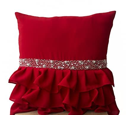 Amore Beaute Handmade Elegant Red Ruffled Beaded Sequin Throw Pillow Cover -Decorative  Pillow Cases - 93c69ab79722