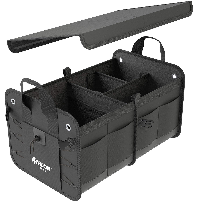 /Bolso para Maletero con Base Estable y Antideslizante Velcro Grande para Maletero Organizador con Variable Compartimentos de Tejido Oxford Color Negro ATHLON TOOLS/ /Deluxe/