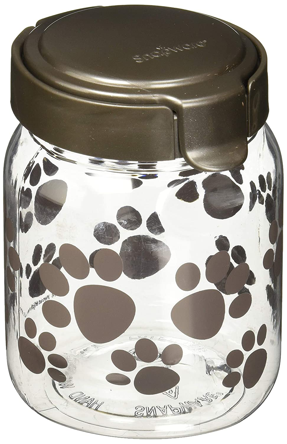 CLEAR Small CLEAR Small Snapware Pet Canister 4.2 Cup Black Paw