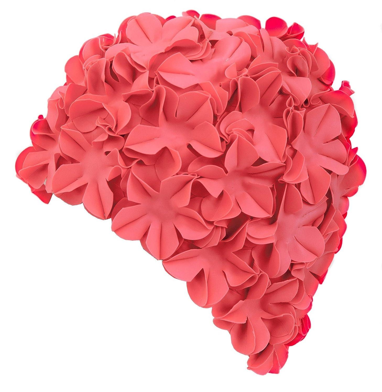 70er Jahre Blumen Latex Gummi Aqua Speed Bloom Damen Retro Badekappe