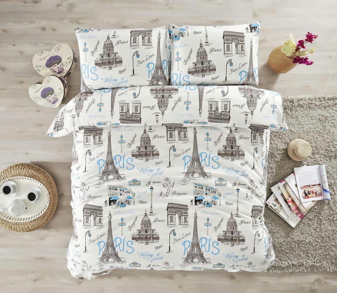 Bedding Sets Black and White Paris Eiffel Tower Love Themed, Cotton Queen Duvet Cover, Lettering Bonjour Je Taime Elegant Design, 4 Pieces, Blue