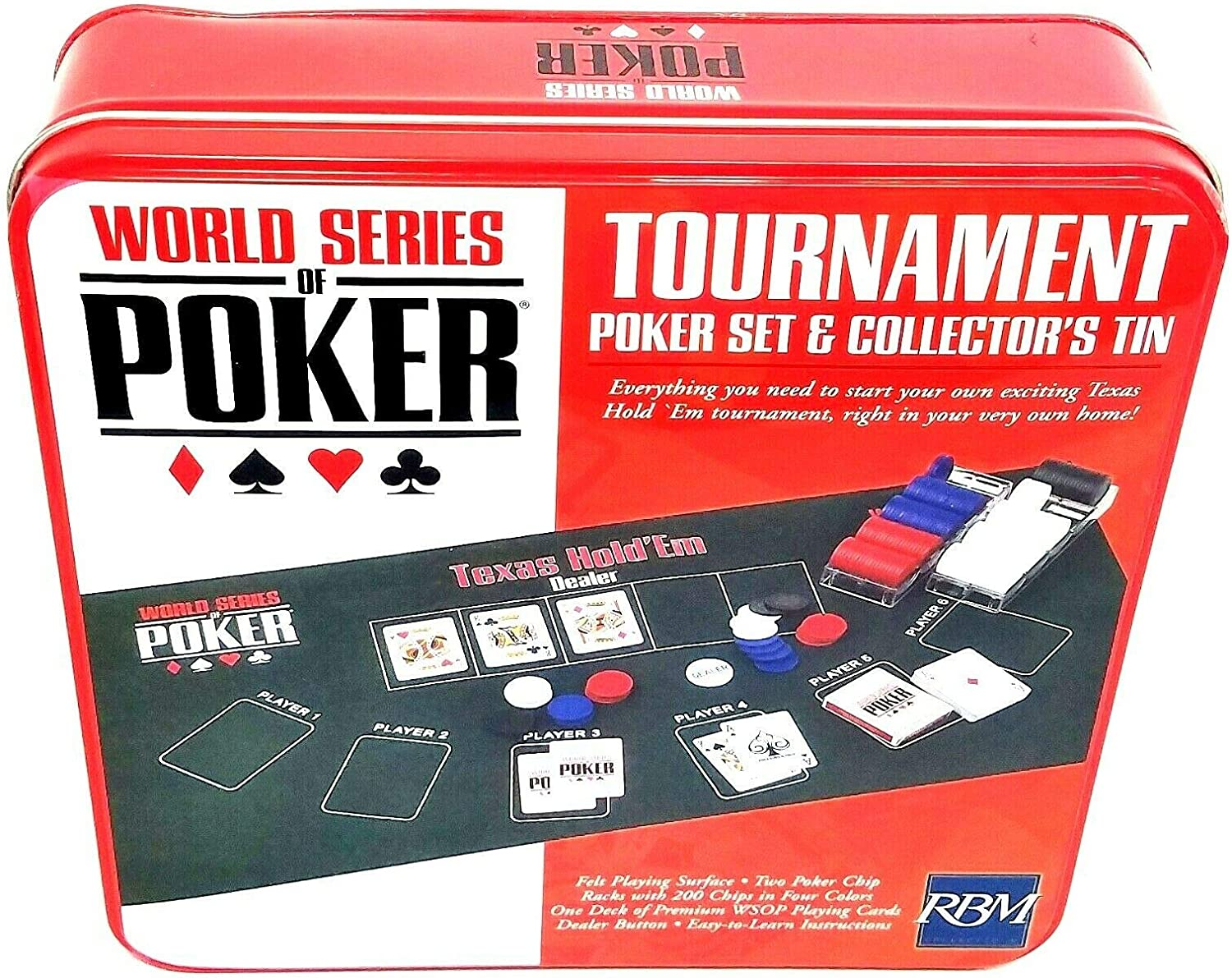 World Series Of Poker Texas Holdem Tournament Poker Set /& Collectors Tin Includes Everything for Your Own Texas Hold Em Tournament