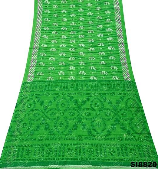 PEEGLI Indio Mujer Vintage Paño Verde Étnico Vestido Seda Mezcla ...