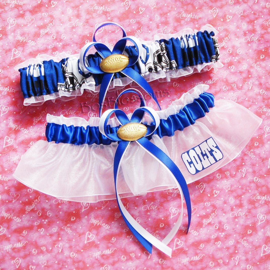 Customizable - Indianapolis Colts fabric handmade into bridal prom white organza wedding garter set with football charm