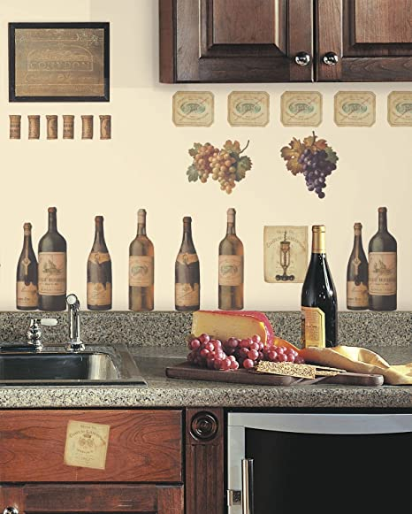 WINE TASTING WALL DECALS Grapes & Bottles Stickers Kitchen Decor:New free  shipping by WW shop
