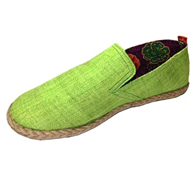 Unisex's Green Hemp Loafers Handmade Canvas General Wear