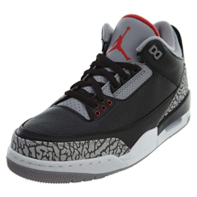 5ba231772da9e0 Jordan Air 3 Retro OG Men s Basketball Shoes Black Fire Red Cement Grey  854262