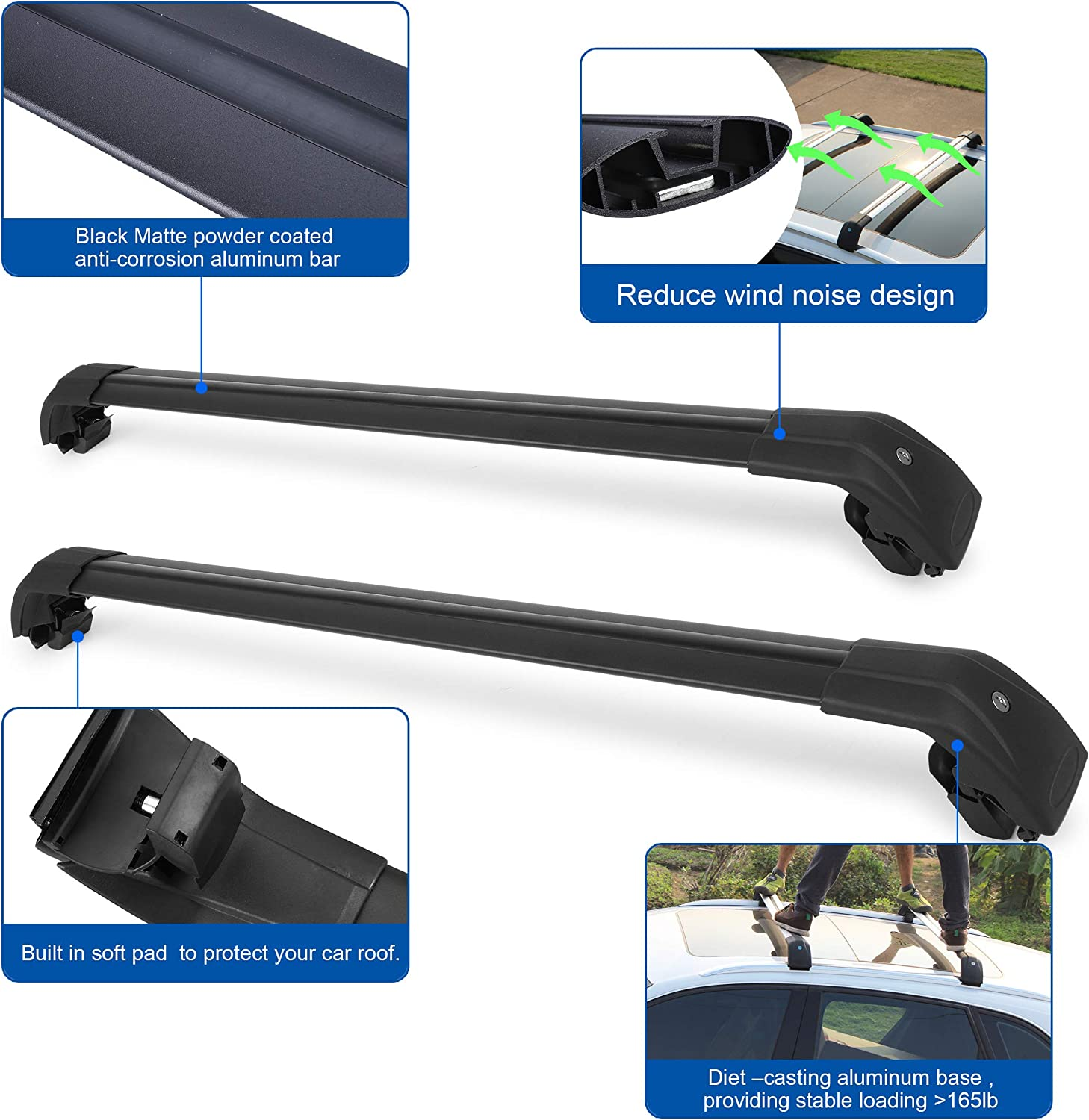 Autekcomma Roof Rack Cross Bars for Volvo XC40 2020 Aircraft Aluminum Black Matte with Anti-Theft Locks Max Loading Up to 260 LB
