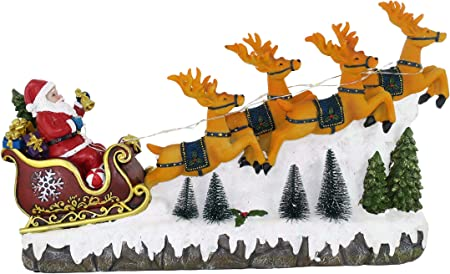 Immagini Slitta Di Babbo Natale.25 Twentyfive Slitta Di Babbo Natale Con Renne Luci Musica 23 X 40 X 9 5 Cm Amazon It Casa E Cucina