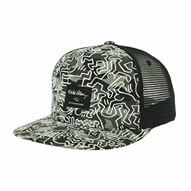 WITHMOONS Snapback Hat Keith Haring Pop Art Dancing Man Pattern Meshed  Baseball Cap CR2994 (Green a11dd1e6a49