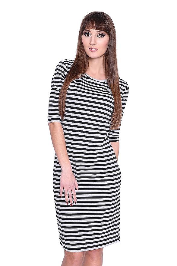 2856 S M 36//38 Kleid 3//4 Arm gestreift Mini-Kleid Gr