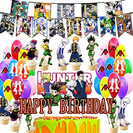 Amazon Com Hunter X Hunter Birthday Party Decorations Anime Theme Party Favors Banner Big Cake Toppers 24 Cupcake Toppers 16 Balloons Hunter X Hunter Toys Games