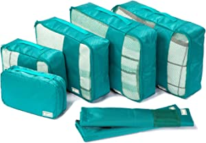 Coolife Packing Cubes Travel Organizers with Laundry Bag 7 Set Hanging Toiletry Bag Portable (green)