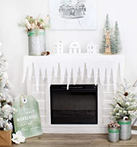 AuldHome Christmas Snow Mantel Scarf, Glittery Snowy Icicle Decor for Fireplace Mantel, Sideboard, or Table, Door Topper Too