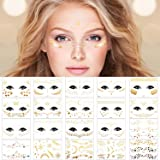 20 Pack Halloween Face Temporary Tattoo Sticker Face Gold Metallic Temporary Transfer Tattoo Freckle Sticker for Woman…