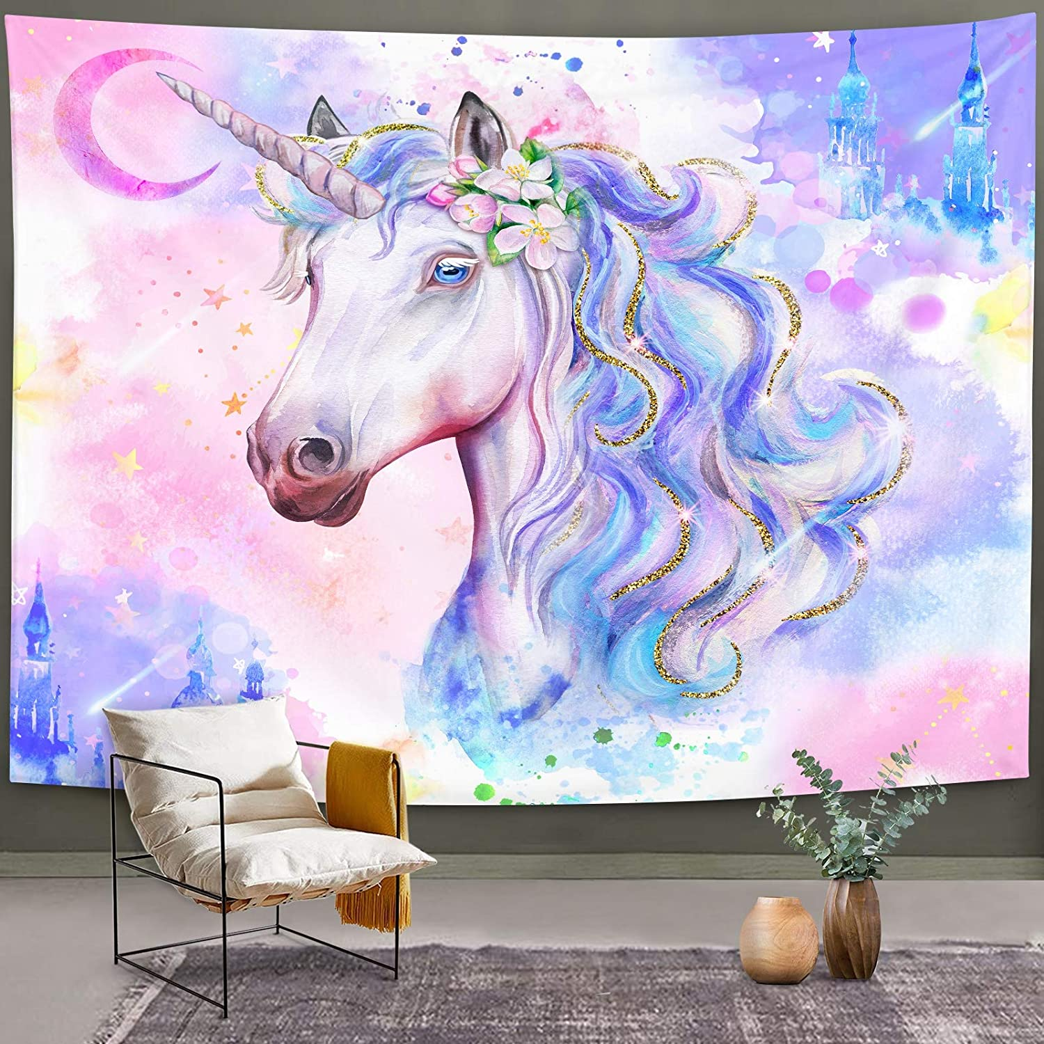 """Bonsai Tree Unicorn Tapestry, Watercolor Cool Kids Wall Hanging, Magic Castle Pink Purple Wall Decor for Bedroom College Home Decorations, 51""""x59"""""""