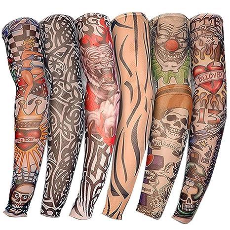 Gymforward hemeraphit 6pcs elástico Tatuaje Mangas Body Art Brazo ...