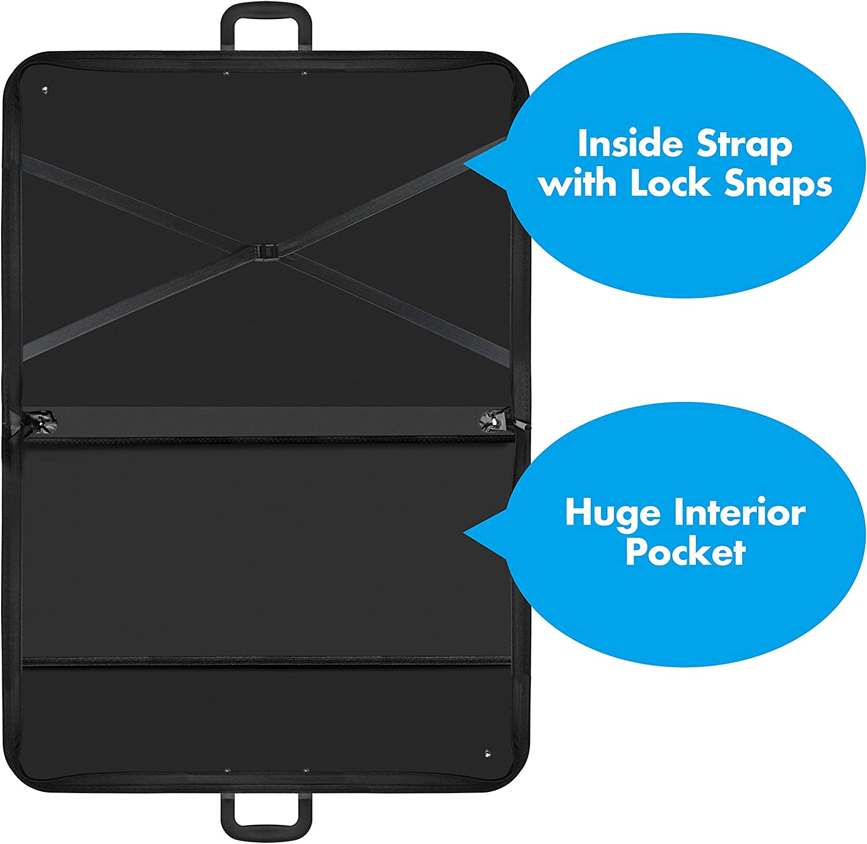 Black Art Portfolio Case Artist Carrying Case Artist Portfolios Case with Shoulder Strap 19x14.7x1.5 Inch