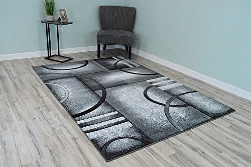 Premium 3D Effect Hand Carved Thick Modern Contemporary Abstract Area Rug Design 4614 Grey 5'3''x7'6''