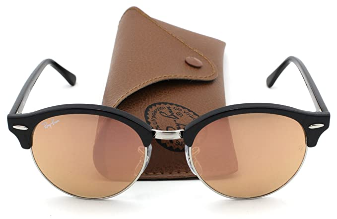 Ray-Ban RB4246 Clubround Unisex Sunglasses (Black Frame Brown Pink Flash  Lens 1197Z2 64ab739a9de6