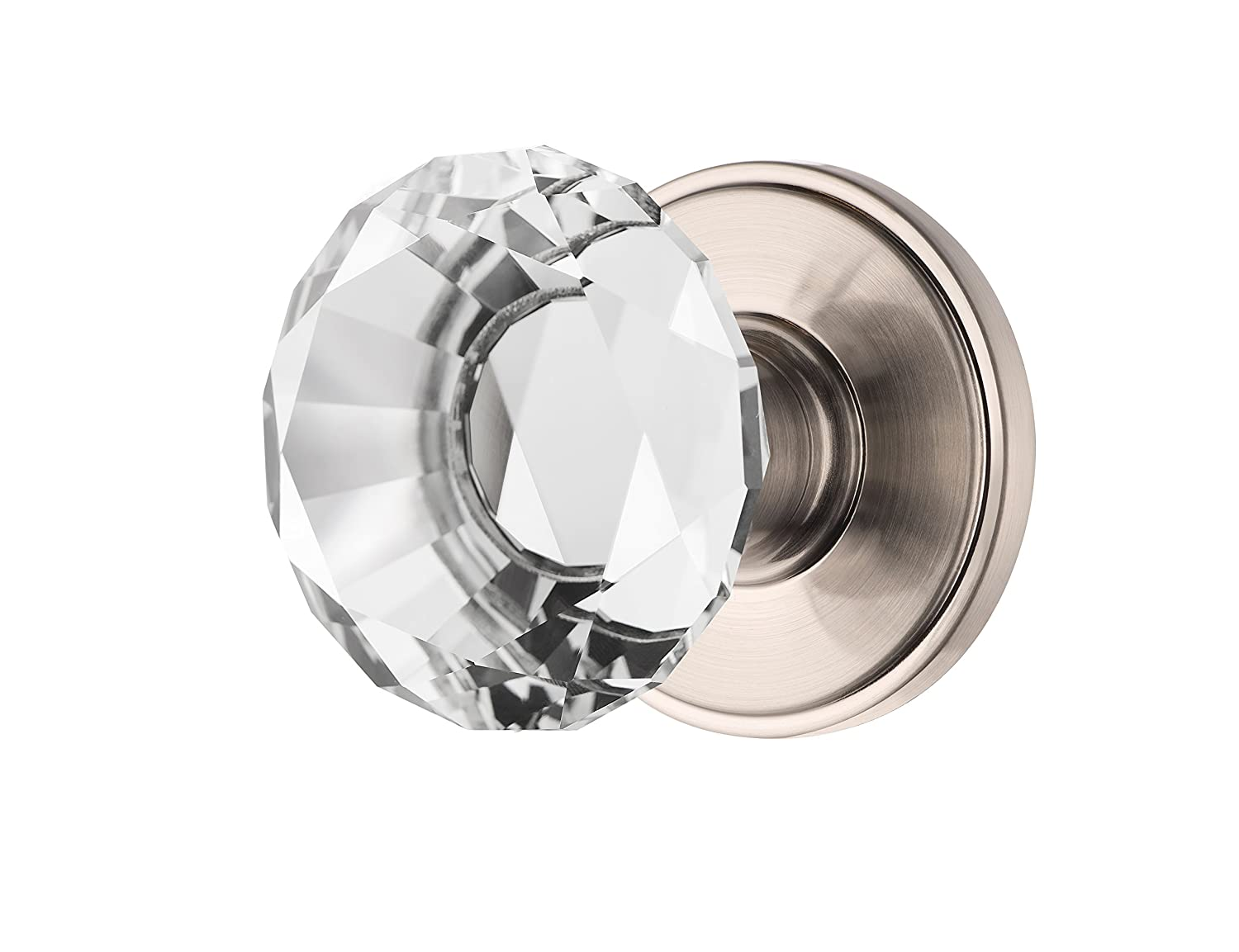 Decor Living, AMG and Enchante Accessories, Diamond Crystal Door Knobs, Passage Function for Hall and Closet, Venus Collection, Satin Nickel